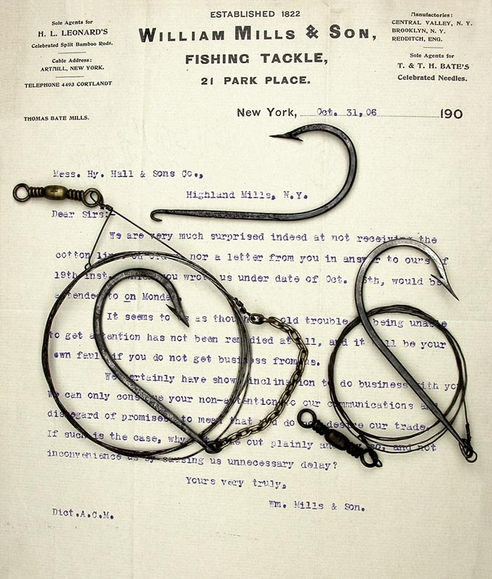 21 E Vom Hofe, Van Vleck, 11/0, tinned, forged, needle eye, links & snell, knife edge, ca 1900.