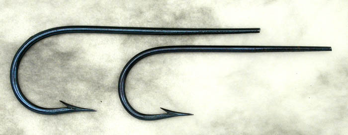 Two blued hooks, about 1/0 & 1, early Partridge? Gift from Tim Trexler