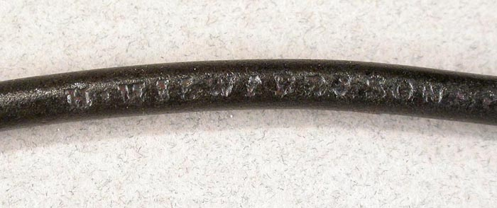 "32b  This is a H. Milward & Son, Washford Mills. Hook is 4 ¾"" long with a gape of 1 ¼"" directly above the point."