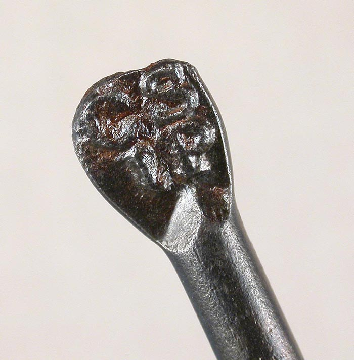 """33d  And another H. Milward & Son, Washford Mills with different flatted marking. Hook is about 3 5/8"""" and a gape of about 1 1/8"""" directly above the point."""
