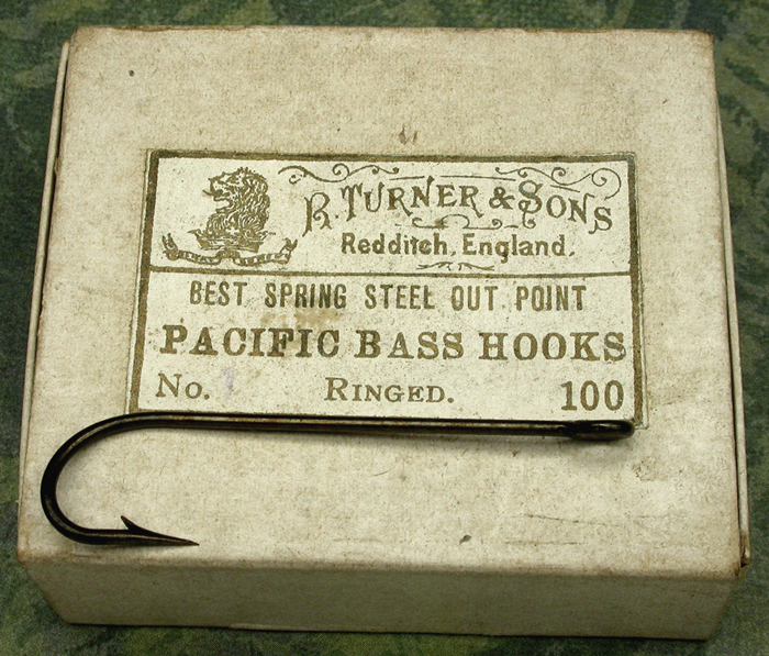 4a  R. Turner & Sons, Pacific Bass Hooks, #1, out point, ringed, bronzed, Redditch England. 1. Stearns Collection