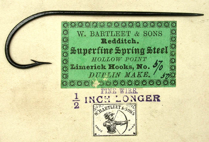 W Bartleet & Sons, package and labels, hook, 6.0. Other than the size and fact that this hook has a Dublin point instead of a hollow point, the package description matches. From the Reinhold Collection.