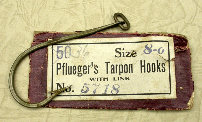 8a Pflueger, Tarpon hook, 8/0, #5718, drilled eye with welded link. 1900's collection.