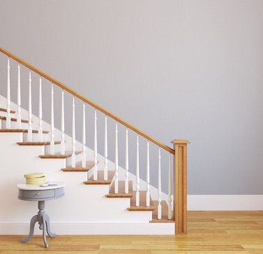 Ron The Floor Guy Specializes In Installing And Refinishing   Staircase Refinishing Near Me   Basement   Restaining   Brown Stained   White Riser   Grey Flooring