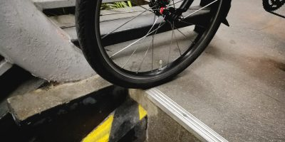 bike ramp with bike wheel