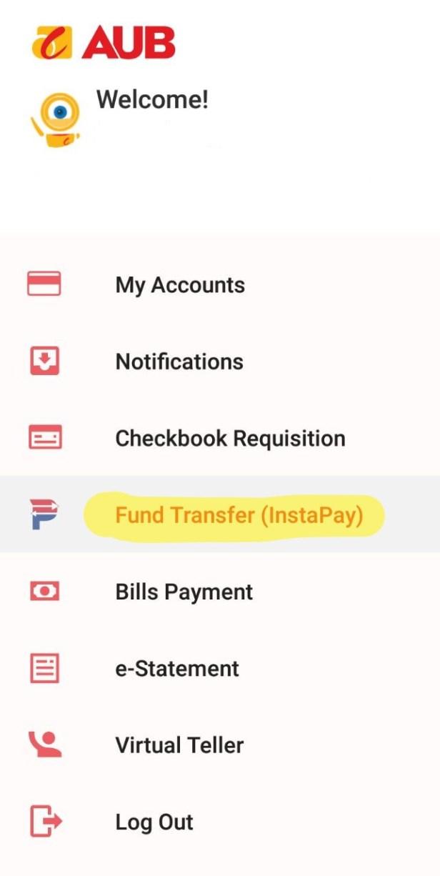 instapay AUB online banking menu
