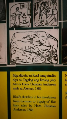 Rizal's sketches in his translation from German to Tagalog of five fairy tales by Hans Christian Andersen, 1886.