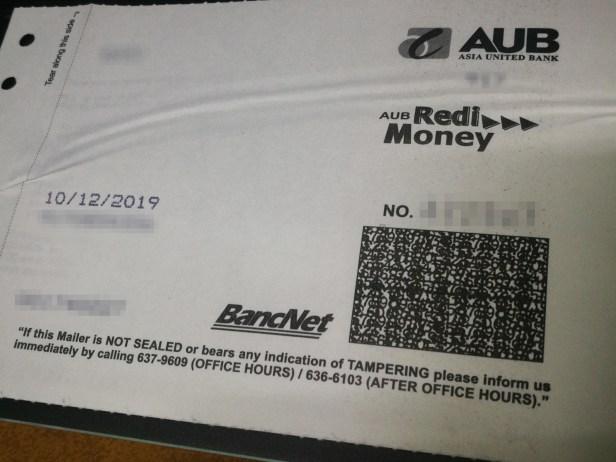AUB PIN Mailer slip
