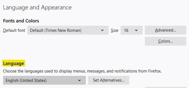 Language Options screenshot