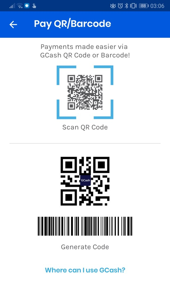 Scan-to-pay QR code on Gcash