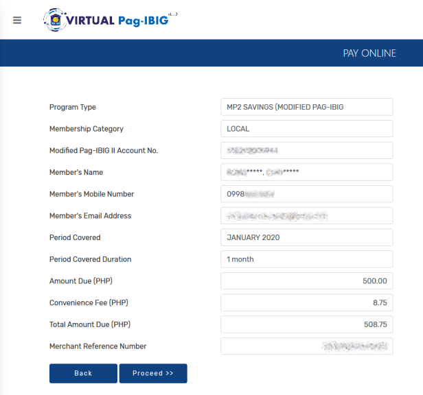 Confirmation page of MP2 payment