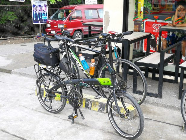 Bikes parked at a nearby convenience store