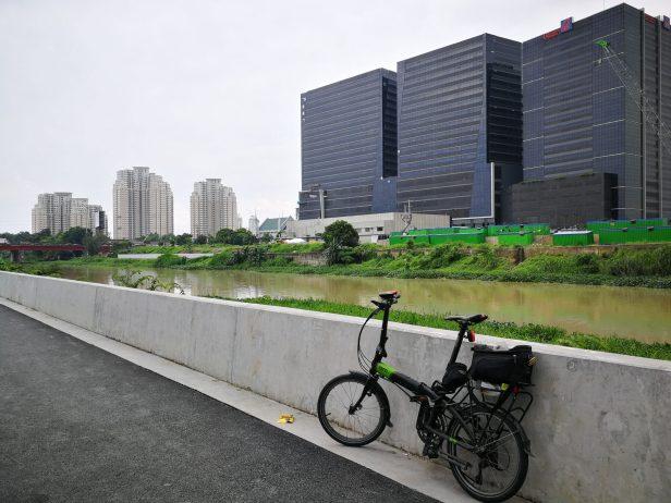 A folding bike beside the Marikina River