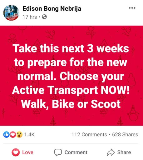 Edison Bong Nebrija statement on Biking under a New Normal