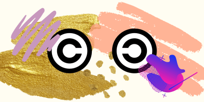 Logos of copyright and copyleft with some artistic style around them