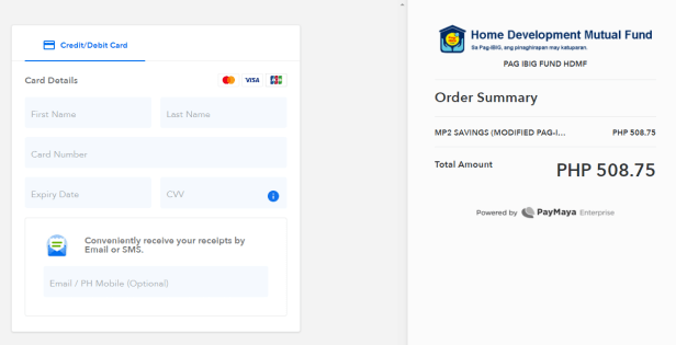 Confirmation page for credit or debit card payment