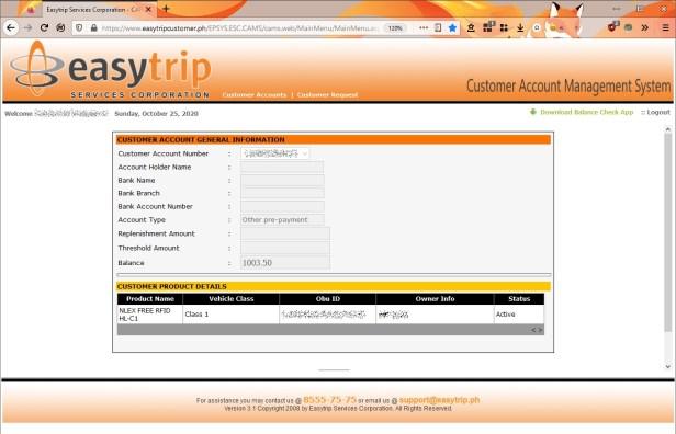 Easytrip RFID Balance Inquiry website