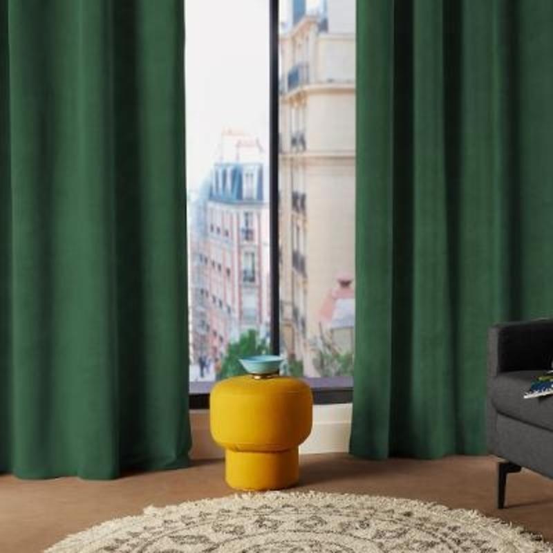 rideau velours lilou uni vert canard 140x260 atmosphera rony deco