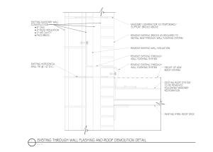 DETAIL 1: When raising the through-wall flashing on an existing wall, it is prudent to define the required demolition.