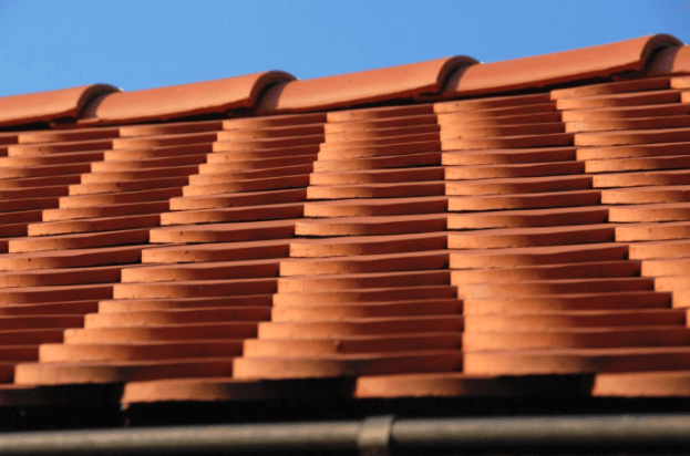 A freshly installed, clay tile roof