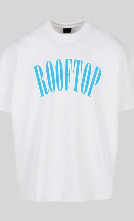 Oversize T-Shirt in Weiss mit Baby Blauen Print