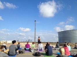 Tania Brown teaching at Rooftop Yoga