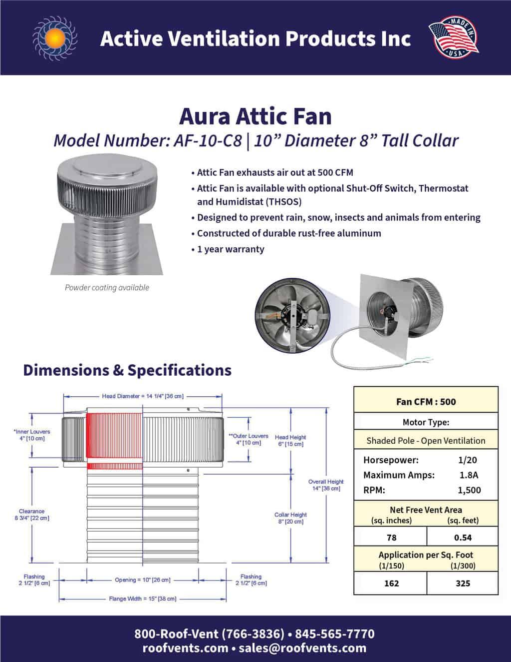 aura attic fan cfm 500 10 diameter