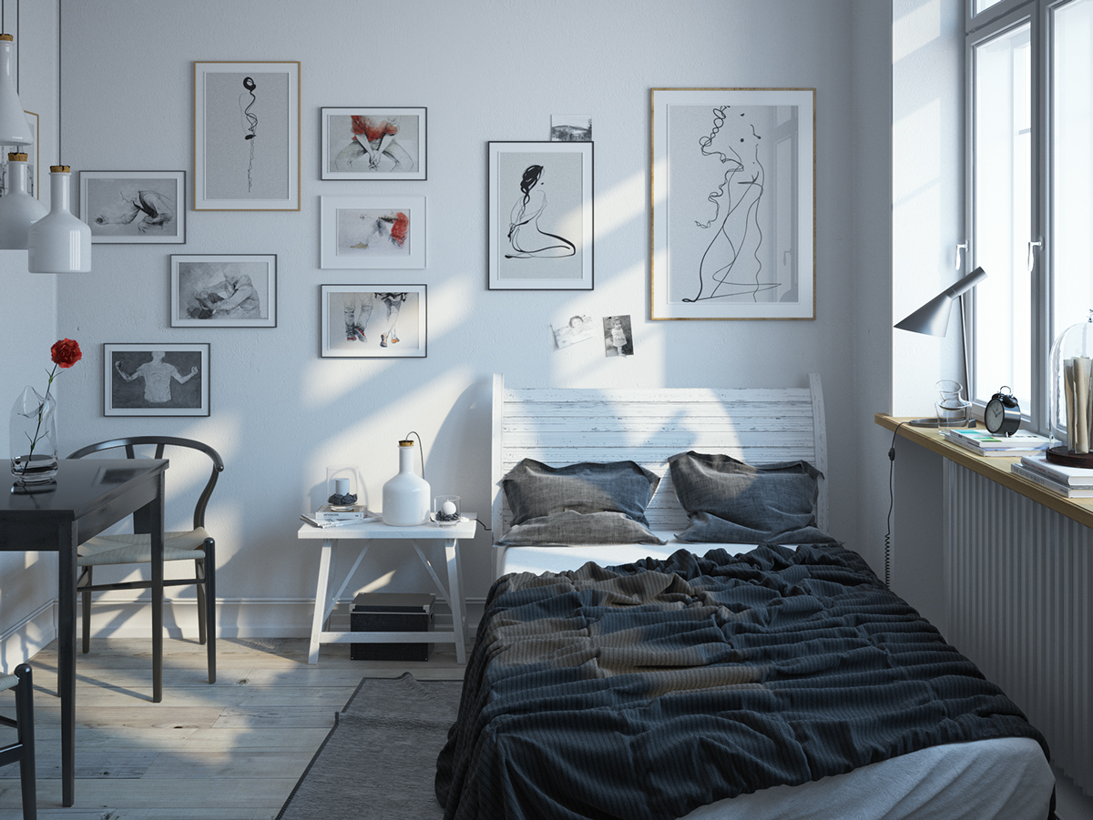 Scandinavian Bedroom Design For Woman With A White Color
