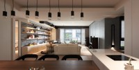 Dark Apartment Interior Design For A Young Family - RooHome