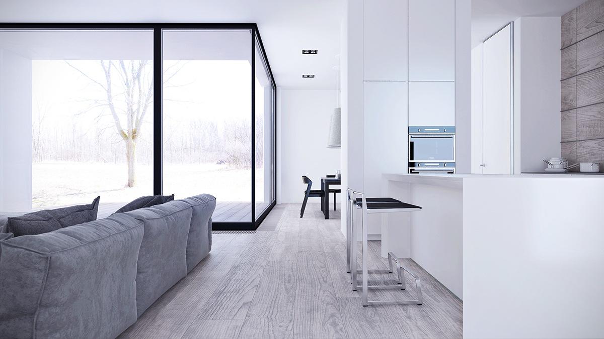 White Interior Design Style With Low-Profile Furniture