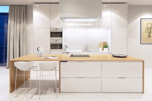 black and white wood kitchen design ideas 20 Awesome White and Wood Kitchen Design Ideas - RooHome