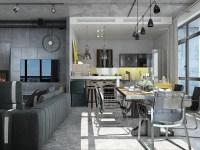 Industrial Loft Apartment Design Ideas With Elegant Dark ...
