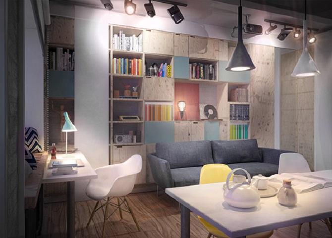 A Modern Mini Loft Design With Colourful Interior  RooHome