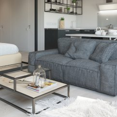 White And Black Sofa Bed Creations Penrose Auckland Studio Apartment Interior Design With Cute Decorating ...