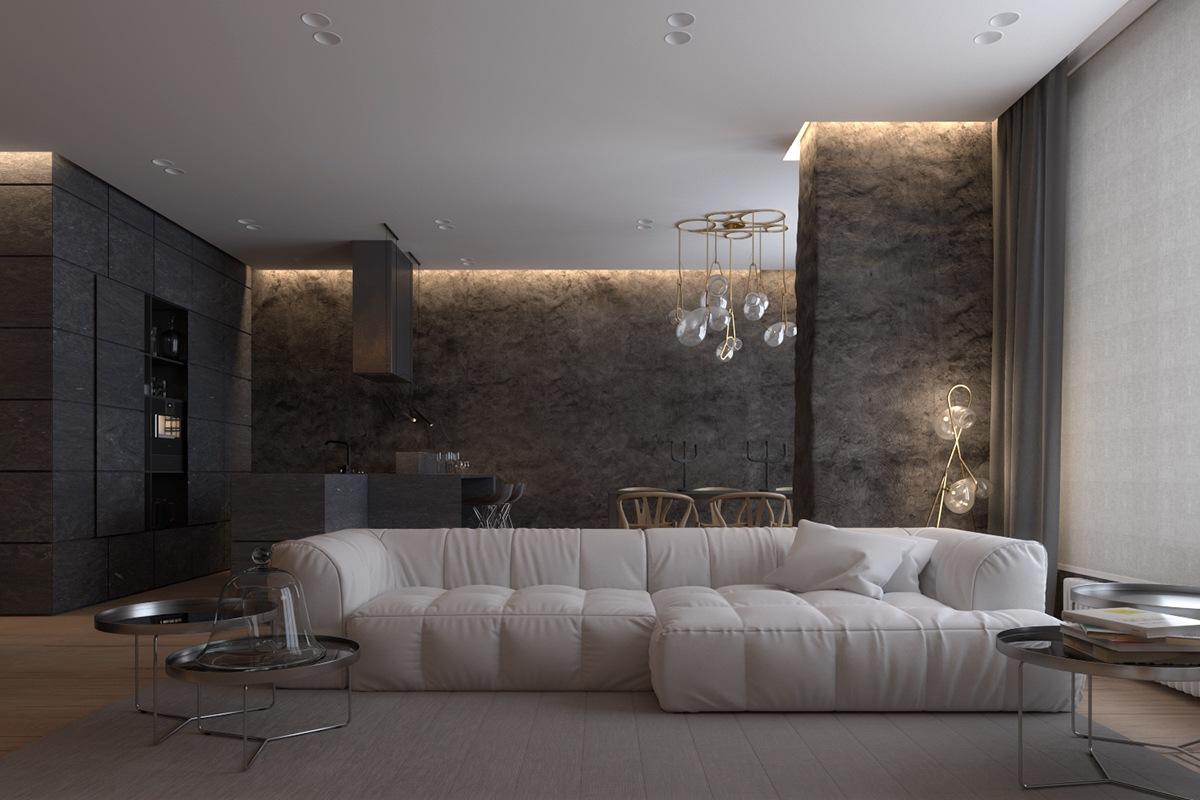 Luxurious Apartment Design With Sexy Dark Interior Style