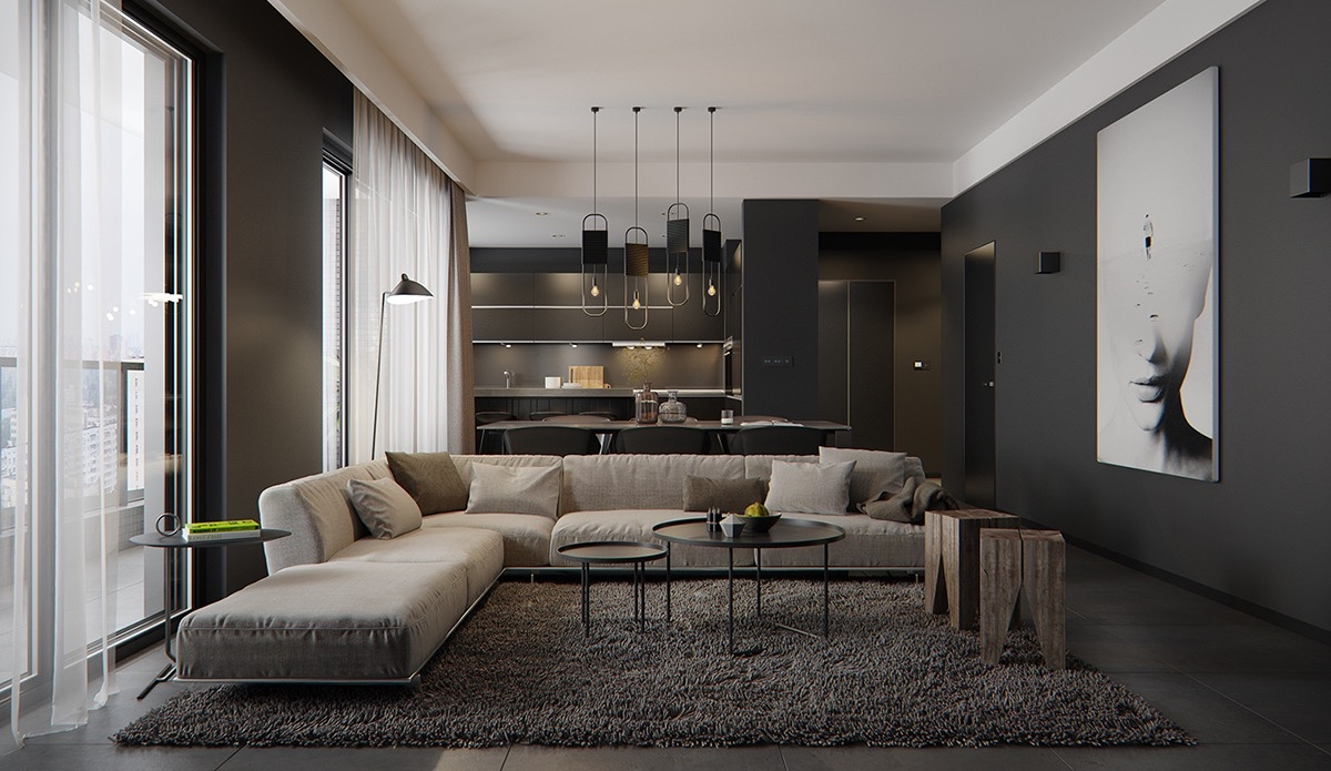 8 Living Room Interior Designs And Layout With Dramatic Dark Shades RooHome