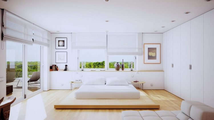 The Uniqueness Of Minimalist White Bedroom Designs Which Uses A Wooden Material As The Decoration Roohome