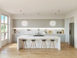 Variety of best white kitchen designs arranged with ...