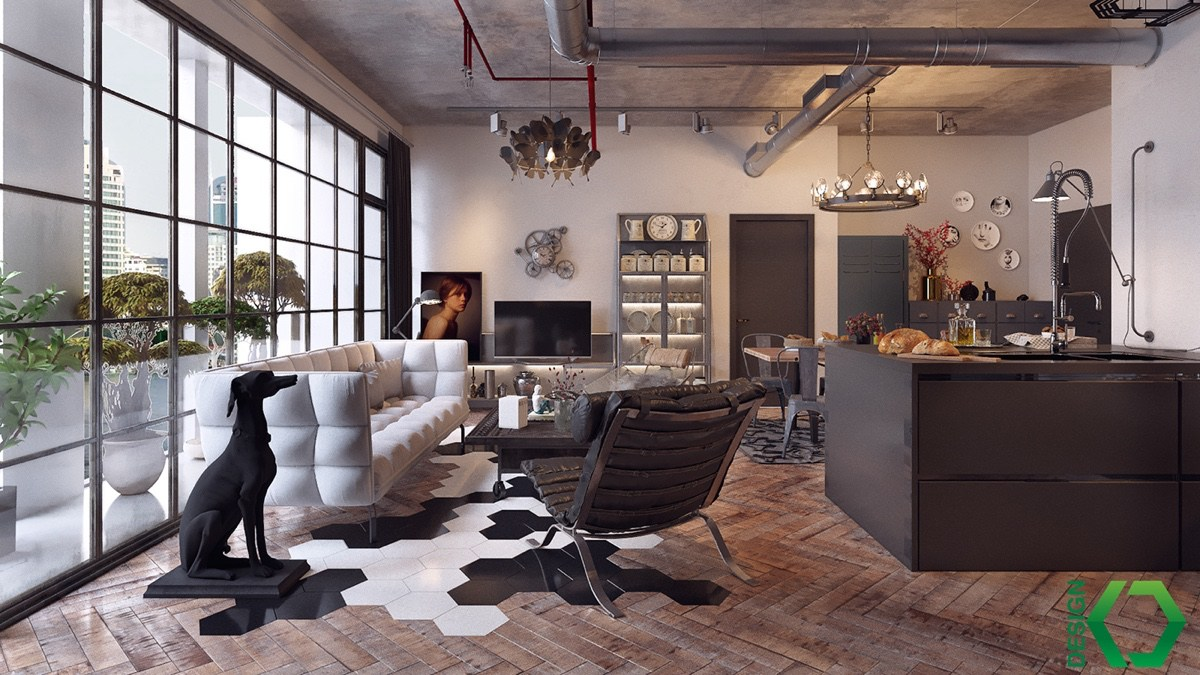 Types of Industrial loft apartment designs which applied with vintage and stylish decor ideas