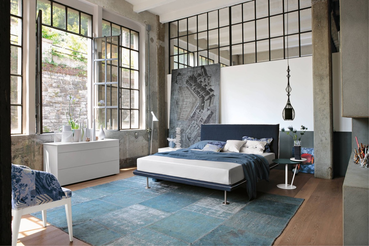 Trendy Industrial Bedroom Design with Gray and White Color