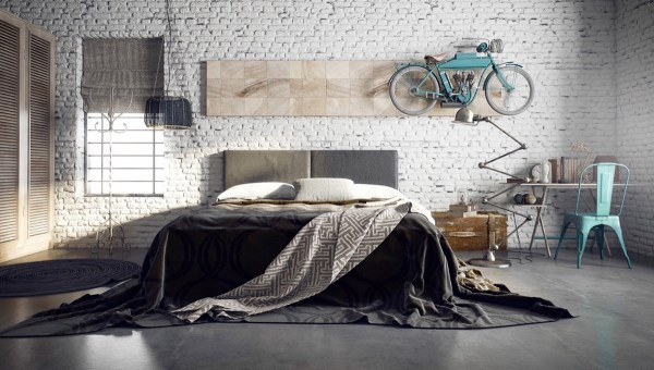 industrial grey bedroom Trendy Industrial Bedroom Design with Gray and White Color