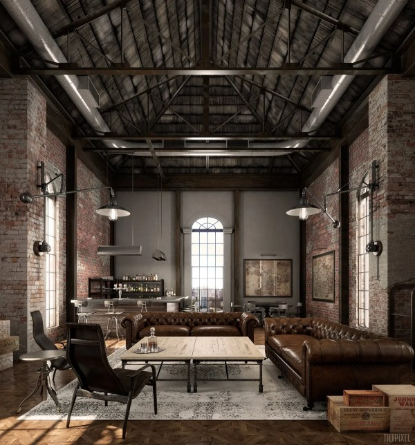 Industrial Style Living Room Design Apply With