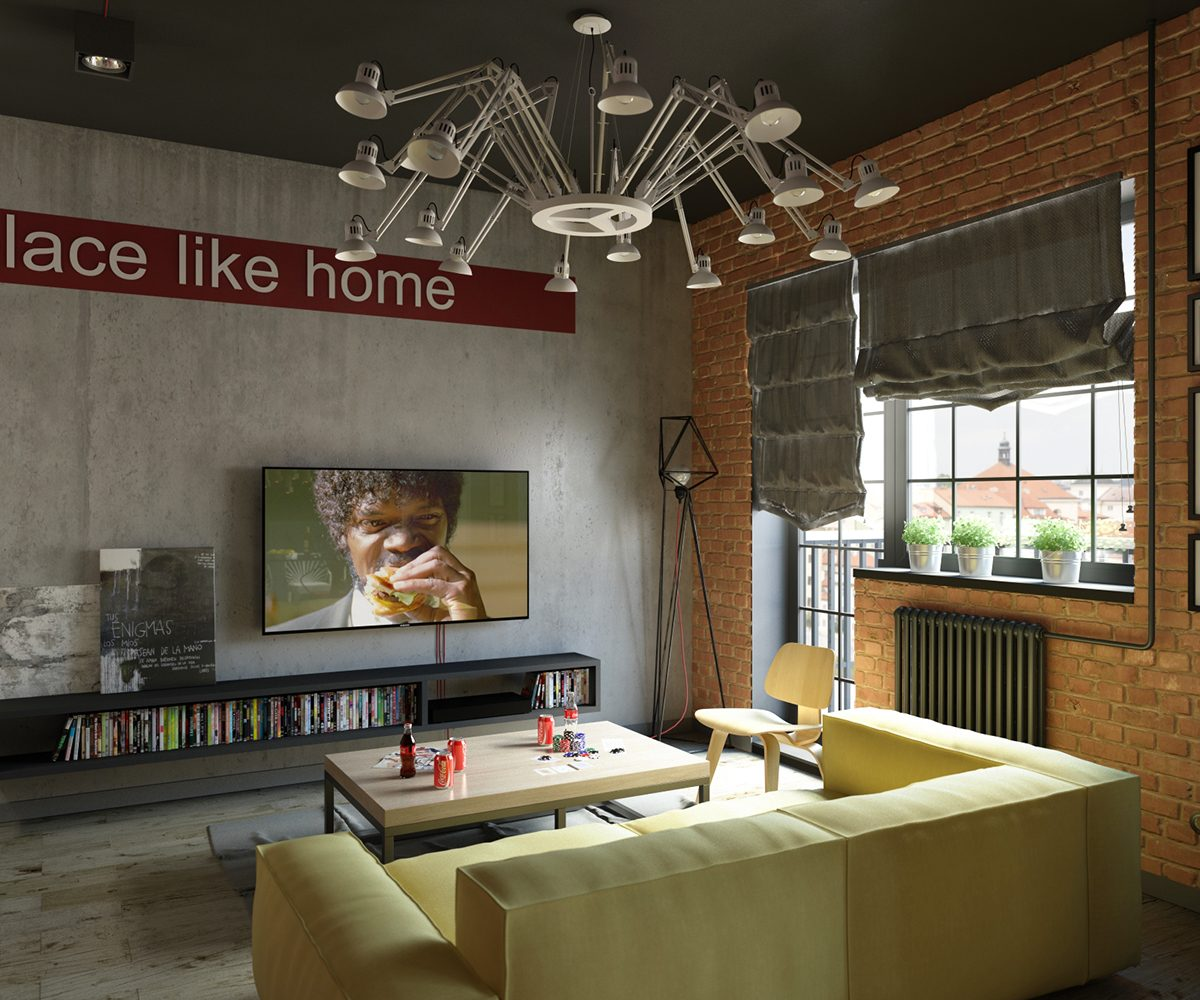 Industrial Style For Living Room Design Apply With Concrete Brick And Wooden Touched RooHome