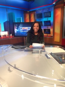 Sitting in the chair in the KHOU newsroom.