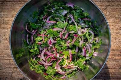Peterselie & Rode ui salade