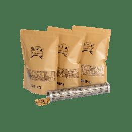 Chips Assortiment met Tube Smoker | Cherry Alder Beech | Rookplankje.nl