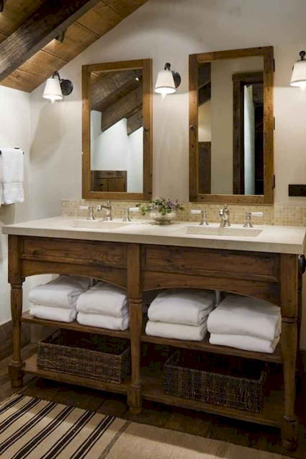 125 awesome farmhouse bathroom vanity remodel ideas (34)
