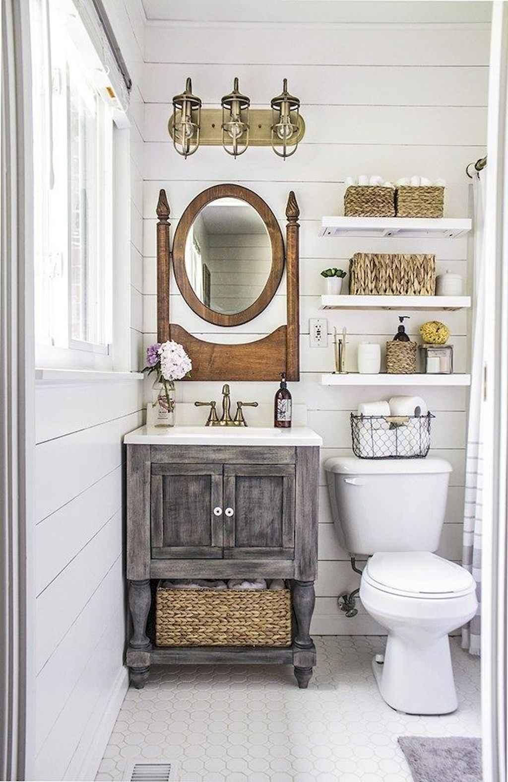 125 awesome farmhouse bathroom vanity remodel ideas (73)
