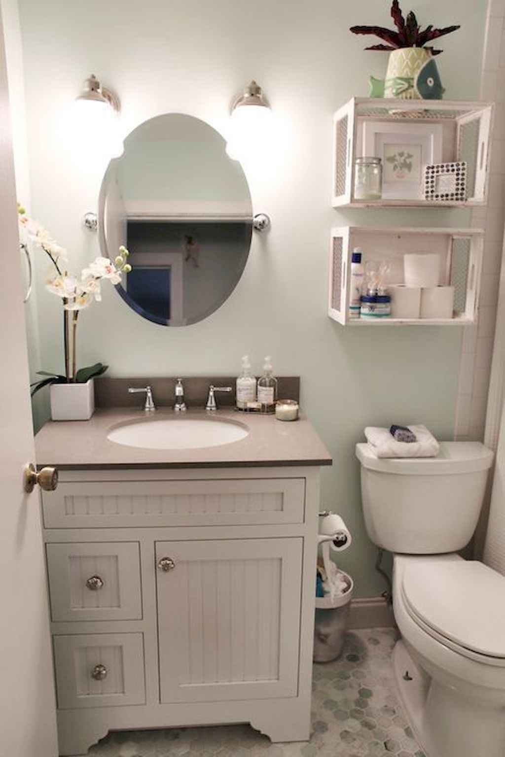 125 awesome farmhouse bathroom vanity remodel ideas (95)