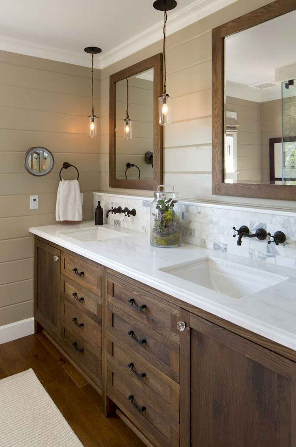 125 awesome farmhouse bathroom vanity remodel ideas (99)